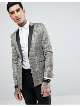 ASOS DESIGN Skinny Tuxedo Suit Jacket In Gold Honeycomb Effect With Black Contrast Lapel - Gold