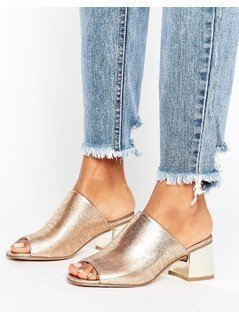 New Look Metallic Low Heeled Mule - Gold