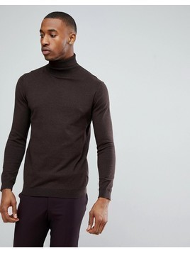 Burton Menswear Roll Neck Knit In Brown - Brown
