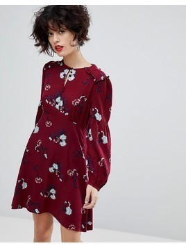 Mango Ruffle Detail Floral Dress - Red