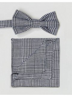 ASOS Prince Of Wales Check Bow Tie and Pocket Square - Black