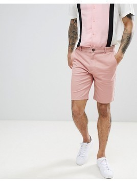 Burton Menswear Chino Shorts In Dark Pink - Pink