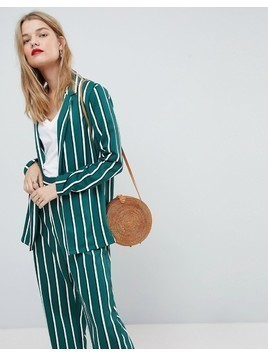 ASOS Soft Blazer in Green Stripe - Multi
