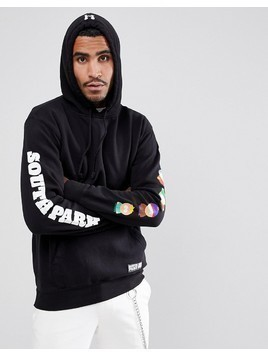 HUF x South Park Hoodie With Sleeve Print In Black - Black