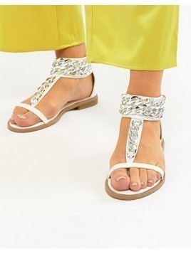 Truffle Collection Chain Flat Sandals - White