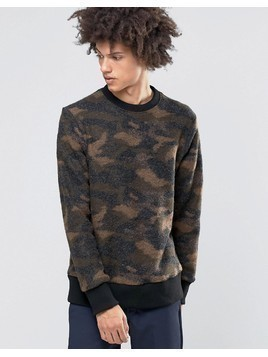 Weekday Collar Camo Print Jumper Boiled Wool - Black