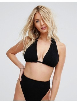 ASOS FULLER BUST Mix and Match Crinkle Supportive Triangle Bikini Top DD-F - Black