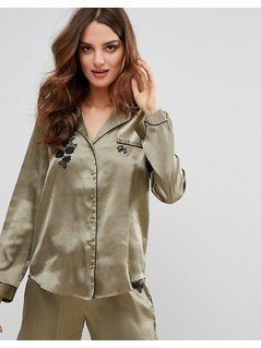 River Island Applique Pyjama Shirt - Green