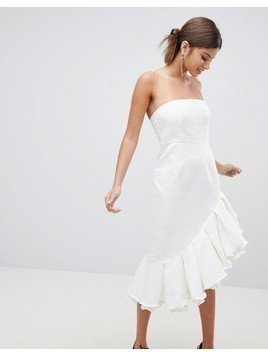 PrettyLittleThing Premium Bandeau Frill Midi Dress - White
