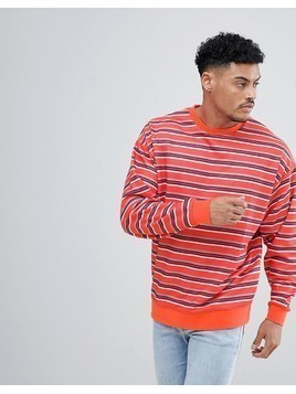 ASOS DESIGN Striped Oversized Sweatshirt In Red - Red