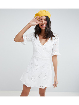 Parisian Tall Broderies Skater Dress With Frill Sleeve - White