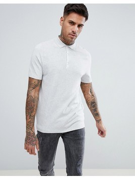 New Look Slim Textured Polo In Light Grey - Grey