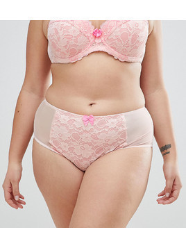 Yours Two Tone Apricot Lace Brief - Orange