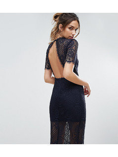Love Triangle Eyelash Lace Midi Dress with Open Back - Black