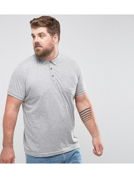 Brave Soul PLUS Short Sleeve Polo with Pocket - Grey