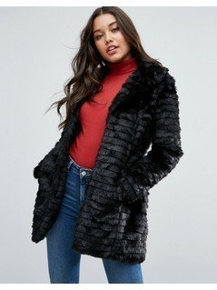 Brave Soul Faux Fur Jacket - Black