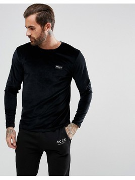 Nicce London Long Sleeve Top In Velour - Black