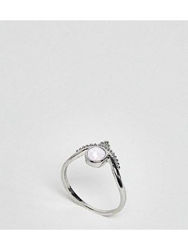 ASOS CURVE Exclusive Engraved Moonstone Ring - Silver