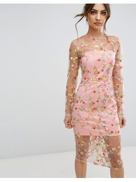 PrettyLittleThing Embroidered Sheer Midi Dress - Pink