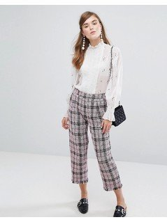 Sister Jane Cropped Trousers In Tweed Check - Pink