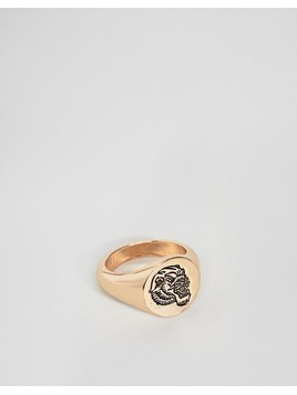 ASOS DESIGN Signet Ring In Gold With Tiger - Gold