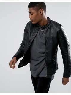 Pull&Bear Biker Jacket With Perforated Detail In Black - Black