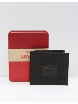 Levi's Embossed Leather Wallet In Black - Black