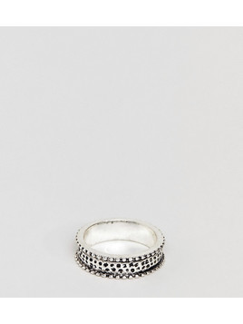 DesignB Silver Band Ring With Black Studs Exclusive To ASOS - Silver