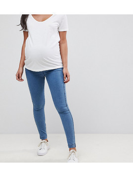 ASOS MATERNITY Pull On Jeggings in Maisy Mid Wash Blue with Over the Bump Waistband - Blue