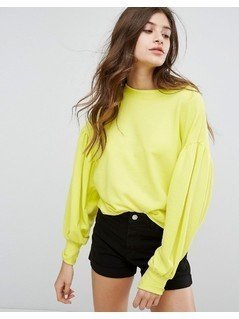 Bershka Puff Ball Sleeve Jumper - Yellow