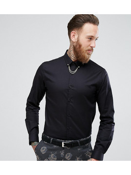 Noose&Monkey Skinny Smart Shirt With Collar Chain - Black