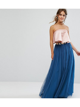 ASOS PETITE Tulle Maxi Skirt with Embellished Waistband - Green