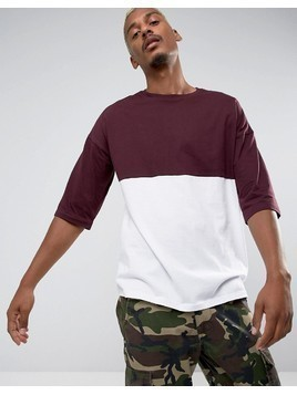 ASOS Oversized T-Shirt With Colour Block - Red