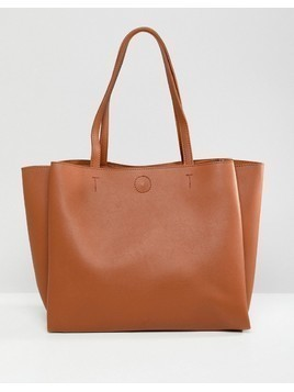 Pimkie Leather Look Tote Bag - Beige