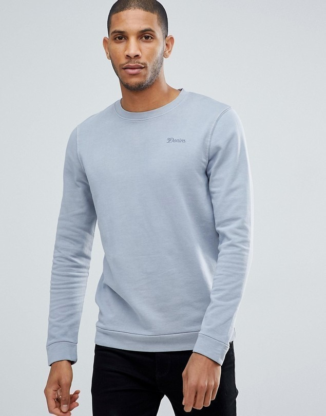 Tom Tailor Crew Neck Sweatshirt In Grey Pigment Dye - Grey