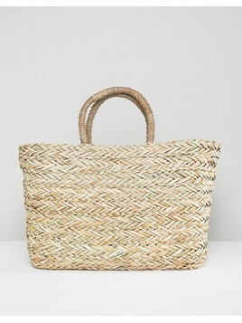 South Beach Straw Beach Bag - Beige