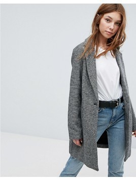 Bershka Car Coat With Pockets - Grey