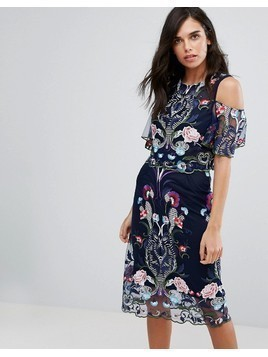 River Island Double Layer Embroidered Mesh Dress - Navy
