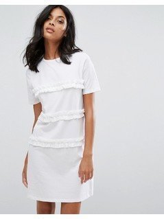 River Island Frill Front T-Shirt Dress - White