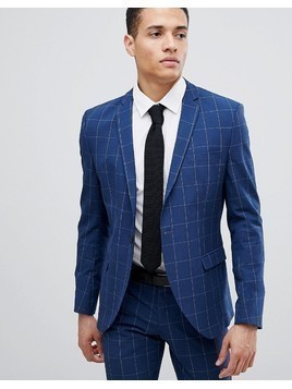 Selected Homme Skinny Suit Jacket In Grid Check - Blue