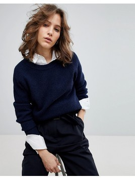 Selected Femme Oversized Ribbed Jumper - Navy