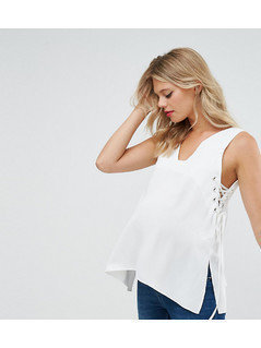 ASOS Maternity Vest with Lace up Sides - White