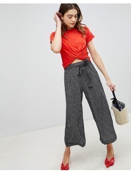 Brave Soul Dakota Crop Trousers in Stripe - Black