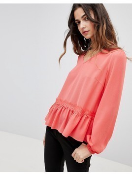 Y.A.S Lumine Drop Hem Blouse - Red