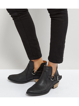 Qupid Western Trim Boot - Black