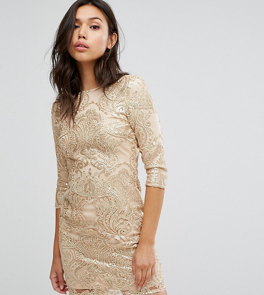 TFNC Allover Sequin Dress With Scalloped Open Back - Gold