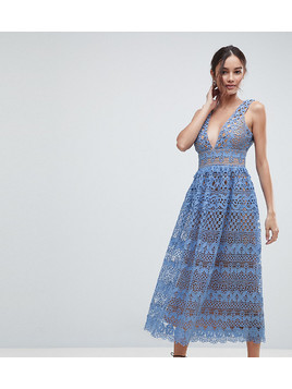 Boohoo Lace Midi Dress - Blue