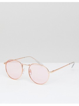 ASOS DESIGN 90s round fashion sunglasses in pink metal with pink lens - Pink