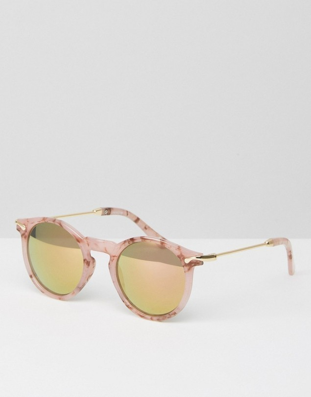 ASOS Round Sunglasses With Metal Arms In Pink Marble Transfer And Flash Lens - Pink
