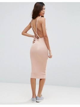 ASOS Midi Dress In Rib with Cross Back - Pink